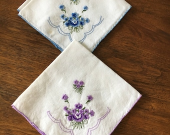 Hankys, Vintage Handkerchief, Vintage Hanky, Vintage Cotton Handkerchief, Two Vintage Cotton Handkerchief, White and blue/white and lavender