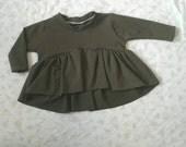 Toddler baby girl high low ruffle shirt top olive green modern minimal sizes 0-3 months- 7 girls