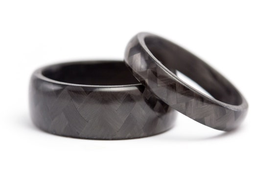 Carbon fiber wedding ring set mini bridal for Carbon fibre wedding ring