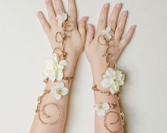 Gold and ivory fairy arm cuffs