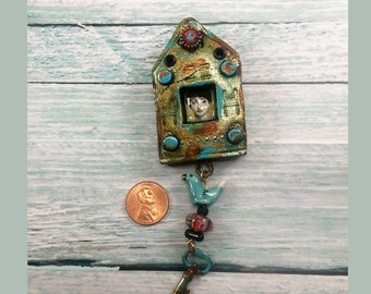 Renaissance Shrine Lady Polymer Clay Brooch or Necklace