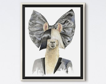 Llama Sia - Llama Art - Llama Print - Sia Art - Hipster Animals - Animal Art - Animal Portrait - Pop Culture - Sia Gift - Llama Gift