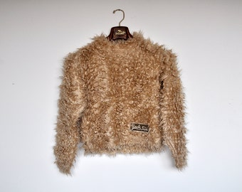 Vintage Grunge Tan Fuzzy Sweater Furry Monster Textured Jumper Fluffy Soft Pullover