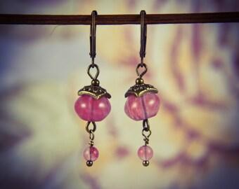 Cherry Quartz and Bronze Oriental Gemstone Earrings [E83]
