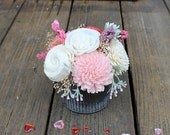 Small Floral Arrangement, Wedding Reception Centerpiece, Valentine's Day, Sola Wood Flowers, Faux Flowers, Home Decor, Wedding Decor