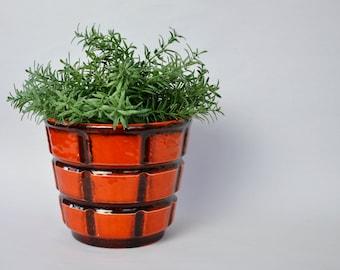 Orange fat lava pot | fat lava planter | vintage orange planter | vintage flower pot