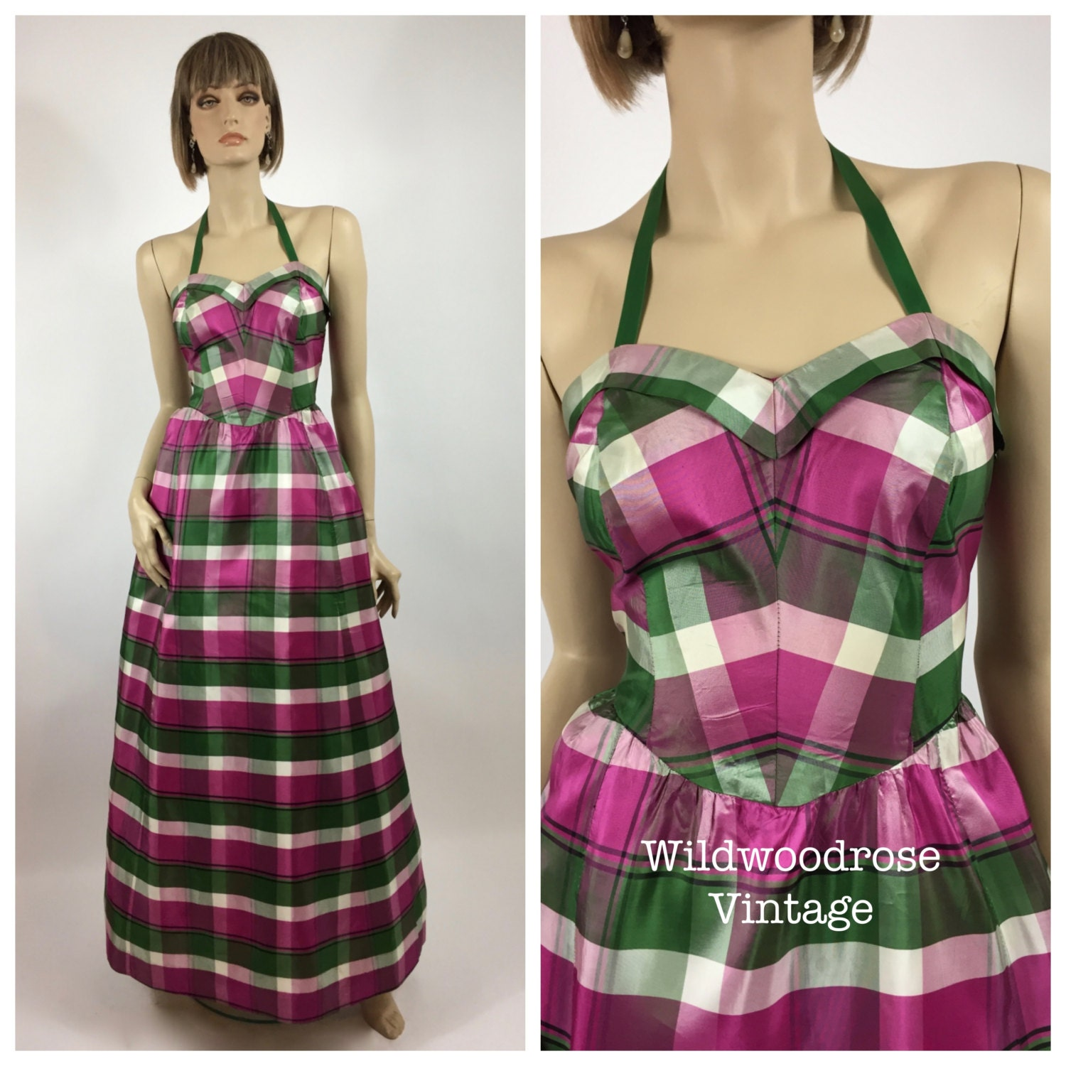 Vintage 1950\'s Green, Pink and White Plaid Taffeta Prom Gown - New ...