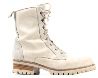 White Combat Boots Leather WORK Boots 80s Beige Suede Engineer Grunge Riding Rugged Sole Steel Toe Half Boot Women Us 9.5, Eur 40, UK 7