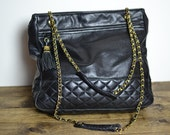 Vintage Black Quilted Leather Large Chain Strap Tote Bag