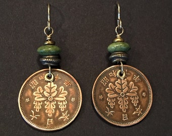 Artisan earrings #17...Copper Asian coin and green Serpentine