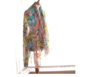 Wool silk wrap, shawl, scarf. large size. 92 wool 8 silk. floral wool silk scarf. wool silk pashmina