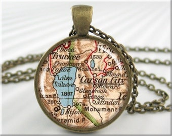Tahoe Map Pendant, Resin Charm, Lake Tahoe Map, Carson City Nevada Charm, Picture Jewelry, Vintage Map Necklace, Round Bronze (441RB)