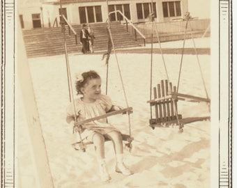 Girl on a Swing found art social realism original old photograph photo ephemera found vernacular children