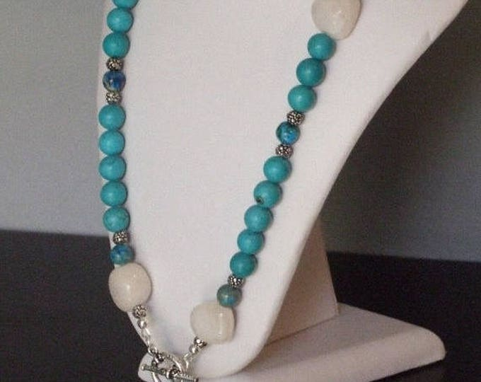 Magnesite, Quartz and Blue Sea Sediment Necklace