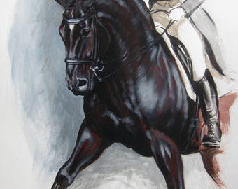 Original energy and movement equine dressage painting mixed media horse movement art drawing 'Flow II' by H Irvine