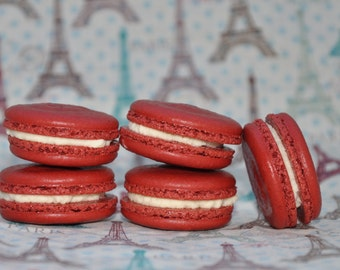 French  Macarons  Red Velvet  Almond Cookies Edible Cookie Gift !