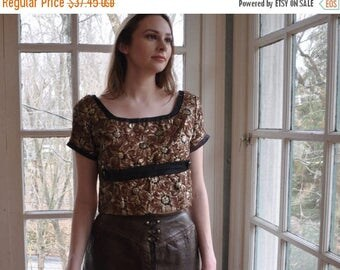 WELCOME SPRING SALE Gold Copper Metallic Damask Top/Vintage 1960s/Crop Top Floral Blouse/ Size Small