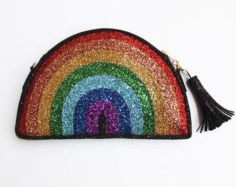 Glitter Rainbow Clutch Handbag