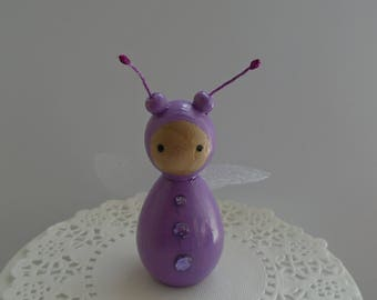 Hand Painted Wooden Bug Peg Doll - Lilac