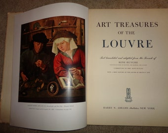 LOUVRE ART TREASURES, A Vintage Hardcover Book, Copyright 1951, Milton S. Fox, Editor, with 100 Color Plates included in a hardcover book