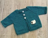 Blue Baby Cardigan, Hand Knitted Baby Jacket with Sheep Intarsia , Merino Wool Sweater for 6 - 12 Months Old Baby, Warm Winter Cardigan