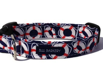 Dog collar in Navy, White and Red Buoys for Small to Large Dogs