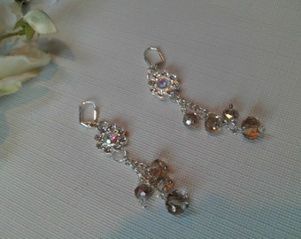 Rainbow AB Crystal Wedding Earrings, Champagne Crystal Wedding Earrings, Bridal Earrings, Holiday Earrings, Cascading Earrings, Holiday Sale