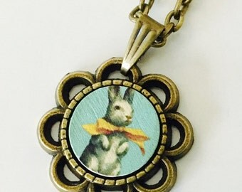 Bunny necklace, rabbit necklace, vintage style, small necklace