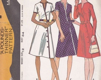 Vintage 1972 Size 12 McCalls #3144 Womens Mock Wrap Dress Sewing Pattern Bust 34
