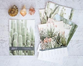 Cactus Calendar, 2017 Calendar, 4x6 Desk Calendar, Loose Leaf Calendar 5x7, Desert Photography Calendar, Succulent Calendar, Palm Art