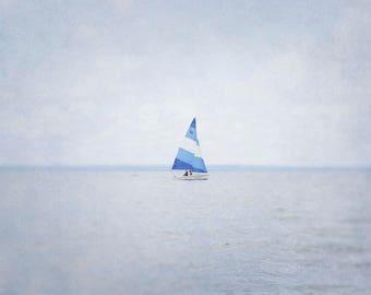 Dreamy Sailboat Photography, Blue Coastal Artwork, Ocean Picture, Nautical Art Print, Baby Boy Nursery Decor, Lake Photograph, Nature Photo