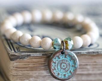 SUMMER SALE River Stone, Stretch Bracelet, 8mm, Stacking Bracelet, Copper Charm, Aqua Patina, Czech Glass, Beaded Bracelet, Creamy White, Bo