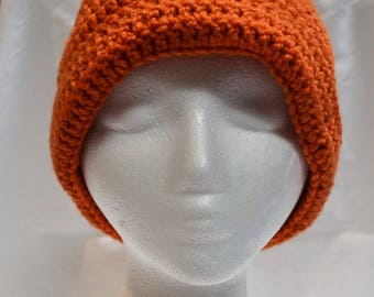 Crocheted Standard Hat - Orange - Finished - Large