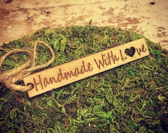 Wooden Tags, Buisness Tags, Custom Personalized Tags, Engraved tags for knitted, Knitting Buttons, Craft Buttons, Laser Engraved