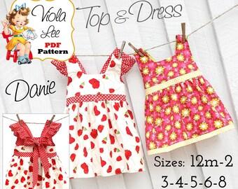 Danie Toddler Sewing Patterns. Girls Dresses. Girls Dress Pattern pdf. Girls Top Pattern. Toddler Summer Dress Pattern. PDF Sewing Pattern.