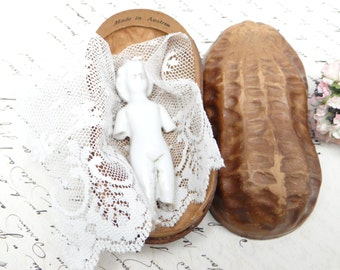 1920's Austrian Peanut Candy Container with Frozen Charlotte Doll, great for Christmas
