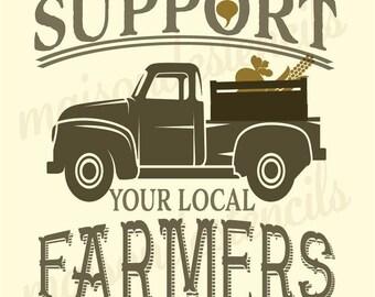 Euro Stencil Designs   Support your local FARMERS  12 x 12 inch stencil