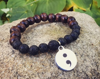 Semicolon project mala meditation yoga bracelet for suicide prevention mental health awareness unisex wood and lava stone