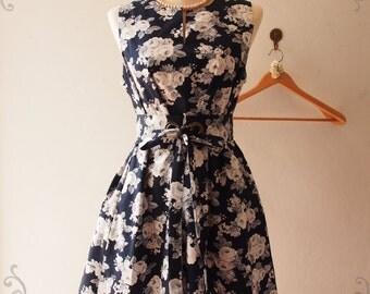 Vintage Inspired Dress Navy Sundress Floral Bridesmaid Dress Navy Summer Dress Maternity Dress, High Quality Handmade, XS-XL,Custom