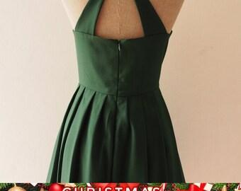 Christmas SALE LOVE POTION - Green Vintage Prom Dress Forest Green Dress, Green Midi Dress, Bachelorette Audrey Hepburn Dress, Dress with...