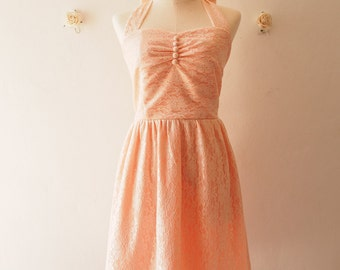 Lace Dress Old Rose Pink Peach Lace Bridesmaid Dress Vintage Sundress Wedding La La Land Dress Romantic Halter Dress Tea Party Dress ,custom
