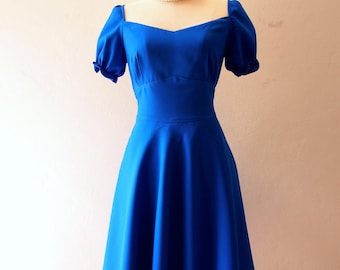 HAppily Ever After - Snow White Dress Puff Sleeve Dress Swing Dress Blue Swing Dance Dress Vintage Style Bridesmaid Dress Short Party Dress