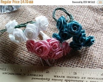 Etsy On Sale Vintage Silk Flowers, 1/2 in Flower on a 3.5in Wrapped Stem, Sparkly White, Mauve ,and  Dark Turquoise Green You Will Recieve A