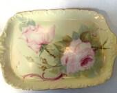 Tressemanes & Vogt Limoges 13 inch Serving Platter, Hand Painted Pink Roses