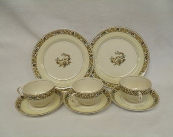 Johnson Brothers England, St. Cloud Pareek, 3 Sets Cup and Saucer, 2 Lunch Plates