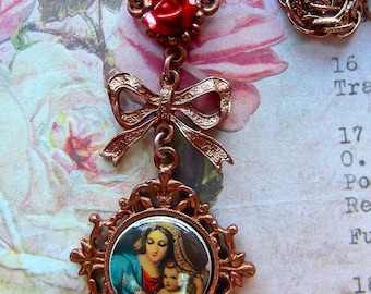Red Ceramic Rose, Mary & Jesus Pendant, BSue by 1928, Vintage Rope Chain, Rose and Bow Pendant, Cameo and Bow, Mary Jesus Rose, Christian