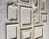 White PICTURE FRAMES - frame set - wall gallery - Vintage Style - shabby chic wedding - nursery - home - photo - collection - Glass Backing