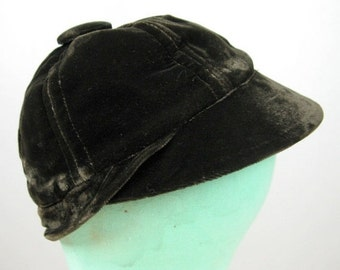 FLASH SALE // Vintage 1940s Brown Velvet Baseball Cap 40s Baseball Inspired Hat