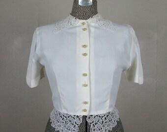 Vintage 1950s Blouse 50s White Nylon Blouse with Lace Trim Size M