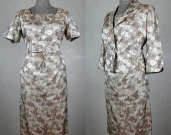 Vintage 1950s Silk Suit 50s Brown and Beige Floral Brocade Dress and Jacket Set Size L